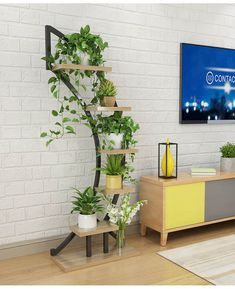 Online Shop Standing flower shelf .Living room & balcony Plant shelf . flower pot stands with wood plant | Aliexpress Mobile