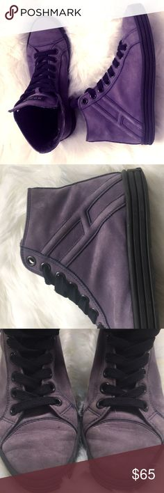 Hogan Rebel sneakers This high top leather, sueded effect sneakers are very comfortable. Embedded logo, solid color, laces, round toeline, leather lining, rubber cleated sole. gently used Hogan Shoes Sneakers