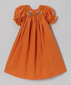 Take a look at this Orange Scarecrow Bishop Dress- Infant, Toddler & Girls by BeMine on #zulily today!