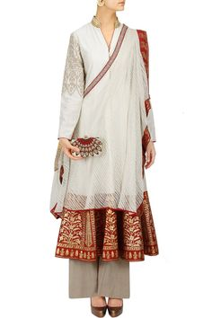 Ivory and red flared anarkali with palazzo and drape dupatta BY ANJU MODI.