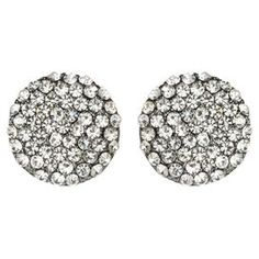 """Make a bold fashion statement with these eye-catching stud earrings, featuring a gunmetal finish and faceted Austrian crystals.   Product: Pair of earringsConstruction Material: Austrian crystal and gunmetal brassColor: Gunmetal and clearDimensions: 0.5"""" Diameter"""