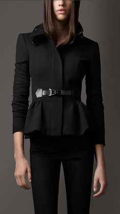 Burberry London Bridle Leather Detail Peplum Jacket