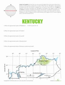 Materials And Directions For Teaching Latitude And Longitude With - Kentucky map latitude longitude