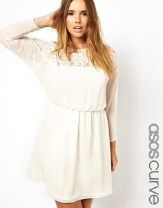 Buy ASOS CURVE Skater Dress With Lace Batwing at ASOS. Get the latest trends with ASOS now. Casual Bride, Lace Dress, White Dress, Plus Size Fashionista, Asos Curve, Fashion Catalogue, Plus Size Casual, Plus Size Dresses, Skater Dress