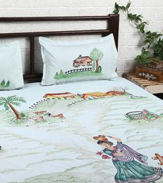 Light Blue Cotton Double Bedsheet With 2 Pillow Covers #indianroots #homedecor #bedsheet #pillowcover #cotton