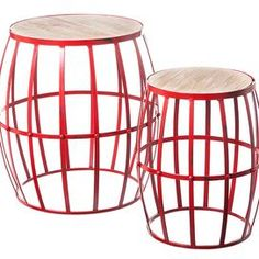 """Set of 2 barrel-inspired nesting stools with wood tops and red metal bases.  Product: Small and large nesting stoolConstruction Material: Wood and metalColor: Red and naturalDimensions: 17.5"""" H x 17"""" Diameter (large)"""