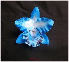 1 fleur orchidée multicolore tissu 9 cm sans tige pour cheveux ou