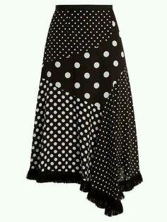 Andrew Gn Polka-dot print asymmetric silk skirt I love Polka Dots! Polka Dot Print, Polka Dots, Black And White Skirt, White White, White Silk, Silk Skirt, Waist Skirt, Sewing Clothes, Dress Patterns