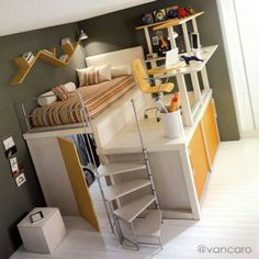 Cute kids bedroom design? Shoot, I want this bed setup.