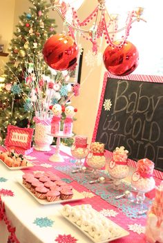"""Photo 6 of 31: Winter Wonderland Snowflake / Baby Shower/Sip & See """"Baby, It's Cold Outside!"""" 