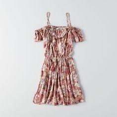 AE Cold Shoulder Tassel Tie Dress ($45) ❤ liked on Polyvore featuring dresses, brown, floral necktie, neck tie dress, floral print dress, tie neck dress and floral dresses