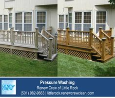 http://littlerock.renewcrewclean.com/pressure-cleaning – Thoroughly cleaning your deck is a necessity before applying a new stain or sealant to the wood. Many rented pressure washing machines are much too harsh for the job and will actually damage the wood. Trust Renew Crew of Little Rock to clean your wood deck carefully and correctly. We serve Little Rock plus Conway, Benton and Pine Bluff AR. Free estimates.