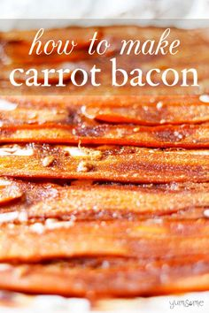 My carrot bacon is so easy to make; it's salty and savoury, with a touch of sweetness, and is made from just 5 basic store cupboard ingredients! Tasty Vegetarian Recipes, Vegan Dinner Recipes, Vegan Dinners, Appetizer Recipes, Breakfast Recipes, Meat Appetizers, Vegetarian Bacon, Vegan Meal Prep, Vegan Breakfast