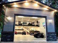 Garage Ideas For a MAN CAVE! Declutter and organize your garage then turn it into a man cave. Garage storage and organization ideas to take your garage from cluttered mess to organized success. LOTS of garage makeover pictures before and after! Design Garage, Detached Garage Designs, Detached Garage Plans, Garage Interior Design, Barn House Design, Barndominium Floor Plans, Man Cave Garage, Man Cave Shed, Man Cave Pole Barn