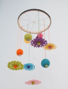The crocheted mobile. #nursery #mobile