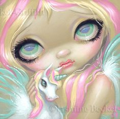Faces of Faery 178 - unicorn pegasus fairy face art print by Jasmine Becket-Griffith 6x6.  (My wonderful friend bought this print for me, I love it soo much!)