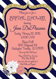 Coral and Navy Wedding Invitation Bridal by MissBlissInvitations