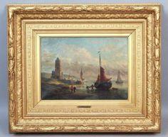 Superb-Antique-19c-Belgian-P-Williot-Seascape-Oil-Painting-Orig-Ornate-Frame