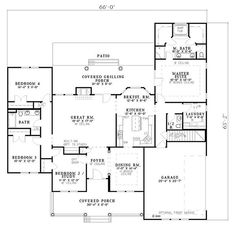 Country Style House Plan - 4 Beds 3.5 Baths 2261 Sq/Ft Plan #17-614 Floor Plan - Main Floor Plan - Houseplans.com