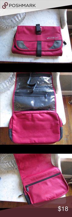New Eddie Bauer travel  toiletry bag #170929003 A great holiday travel bag! Cranberry maroon color. Hanged so it's great for family and camping trips. New and never used. Eddie Bauer Bags Luggage & Travel Bags