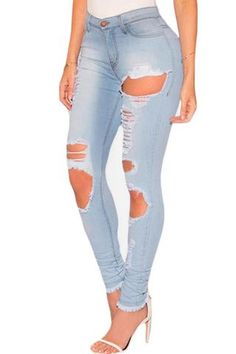 Light Denim Destroyed Frayed Hem Skinny Jeans - Neptune Wild   - 1