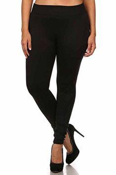 ac36c92ea3b46 Women s Plus Size Basic Leggings 2X 3X - Black Warm Leggings