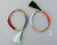 Beaded Friendship Bracelet - Tassel Bracelet - Color Block Bracelet