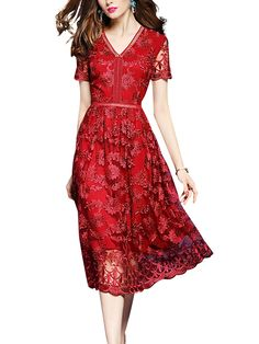 Red Floral Embroidered Swing Midi Dress