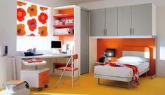 Dormitorio juvenil gris naranja