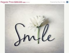 Typography Photograph with Flower Smile word white daisy wedding gray black and white modern cottage chic office loft home decor Smile Quotes, Words Quotes, Sayings, Hug Quotes, Happy Quotes, Smile Word, Smile Smile, Photography Words, Light Photography
