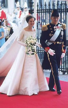 Princess Margrethe of Denmark with her father King Frederik IX on her wedding day June 10, 1967