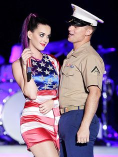 Katy Perry does her patriot duty, entertaining one lucky Marine during a Fleet Week concert in Brooklyn, N.Y.,
