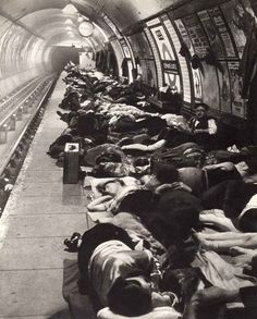 This is the Elephant and Castle Tube station in London during the height of the Blitz. I've been in this Tube station--it was full of tourists and home-going office workers. It's almost impossible to imagine it like this.