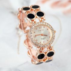 TWEI Rose Gold Crystal hours Analog Fashion Casual Watch