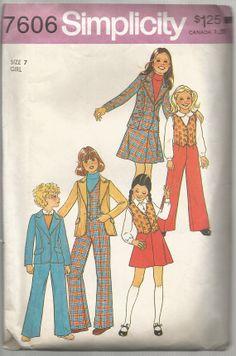 1970s Girls Jacket Pants Skirt Vest Pattern Vintage by SelmaLee, $5.00