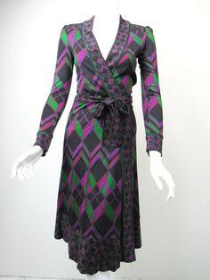 DIANE VON FURSTENBERG Boka Black Green Purple Silk Jersey Wrap Dress sz 2 #DVF