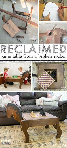 An antique rocker base is the inspiration for this animal themed makeover. With recalimed barn wood and a pile of junk, it is now a junkified game table for Lego, chess, checkers...fun! by Prodigal Pieces www.prodigalpieces.com #prodigalpieces