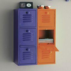 Range cd en métal laqué orange vif et violet de Becquet