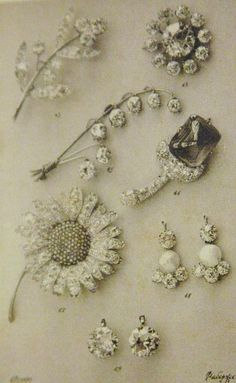 Faberge's catalogues - diamond flower brooches and paris of earrings