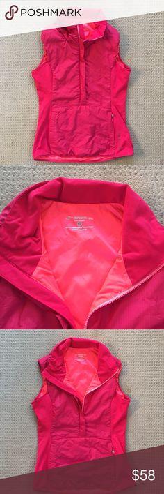 NWOT Brooks Running Vest - Small New without tags, Brooks Running Vest. Size Small. Pink on pink. 2 way Zip, kangaroo pockets, brushed fleece technology. Warm & stylish! Retail $140. Brooks Jackets & Coats Vests