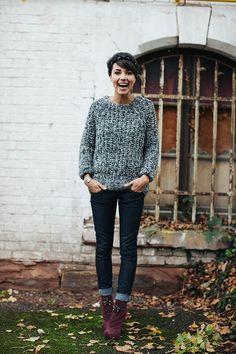 dark jeans, sweater.