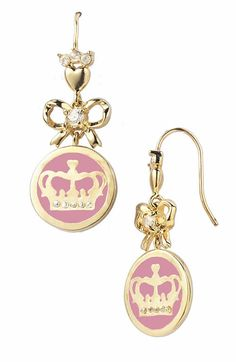 Juicy Couture Jewelry Crown Bow Drop Earrings Yoyosilver
