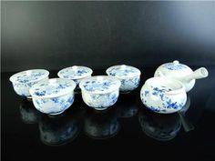 H1629: Japanese Kiyomizu-ware Sencha TEAPOT & CUPS WASTE-WATER POT Kensui, auto  Age: Post-1940 Teapot, Cups, Japanese, Age, Desserts, Food, Tailgate Desserts, Tea Pot, Mugs