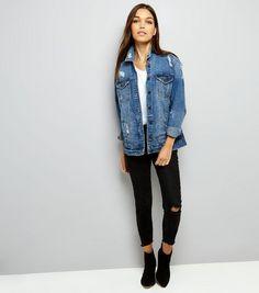 Veste en jeans noir oversize femme