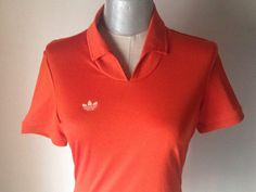 Adidas burnt orange tennis blouse/90s vintage does 70s orange women shirt/Cool sport top by Adidas/Hipster shirt/Adidas retro logo on chest by Stralixa on Etsy