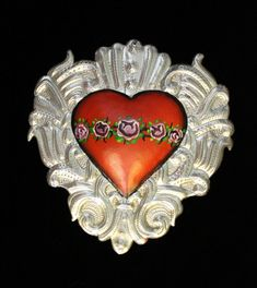 #1 Large Hand Made Sacred Heart Milagro Folk Art Michoacán Mexican Love Token