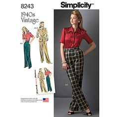 Buy Simplicity Women's Vintage Shirt and Trousers Sewing Pattern, 8243 Online at johnlewis.com