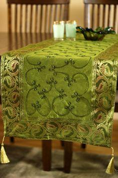 Beaded Green Table Runner for the holidays http://www.banarsidesigns.com/hand-embroidered-table-runner.html