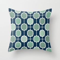 Navy and Mint Moroccan Geometric POPULAR FABRIC Throw Pillow Cover Case 16X16