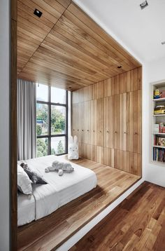 35 Beautiful Ceiling Designs That Will Make You Look Up: Boxed in with wood pane. - 35 Beautiful Ceiling Designs That Will Make You Look Up: Boxed in with wood panels that extend all - Contemporary Interior Design, Modern House Design, Home Interior Design, Contemporary Homes, Modern Ceiling Design, Contemporary Apartment, Room Interior, Exterior Design, Beautiful Ceiling Designs